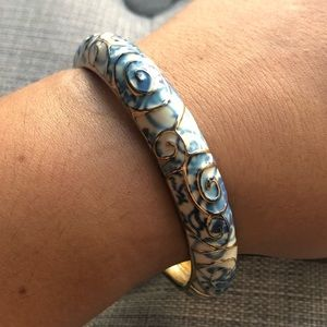 Blue/white/Gold Clasp Bangle Bracelet